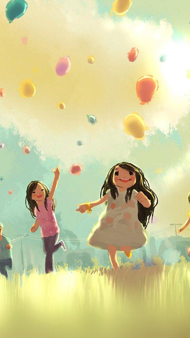 Kids Playing Illustration Art Cute #iPhone #5s #wallpaper