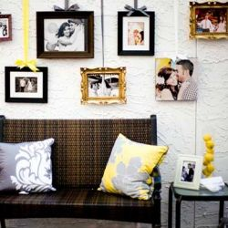 Love the hanging pictures: Ideas, Hanging Pictures, Photo Display, Frames, Ribbons, Wedding, Photo Wall, Hanging Photo, Photodisplay