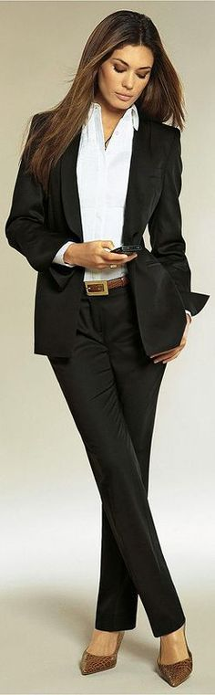 cool Black suit & white shirt for modern business woman's outfit....Great for Biz casual office.
