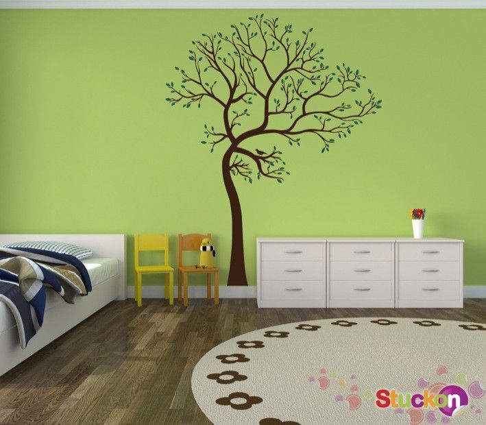 Vinyl Wall Sticker, Tree Decal With Leaves, Wall Decal, Wall Decor, Home  Decor   Part 66