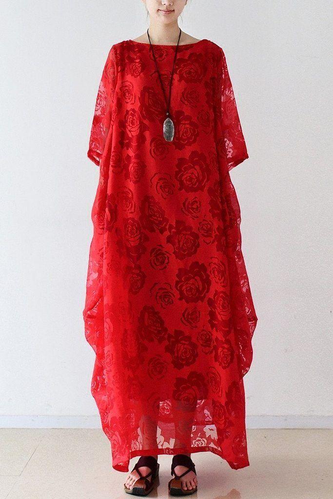 2017 Summer Red Chiffon Women Dresses Maxi Dresses Oversize Q6902