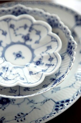 royal copenhagen - VERY traditional, but I love blue and white dishes. I'd mix this with some other sets to make them more casual and modern.