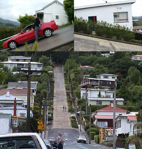 Dunedin, New Zealand features the steepest street in the world. As with many other parts of Dunedin, and indeed New Zealand, streets were laid out in a grid pattern with no consideration for the terrain, usually by planners in London. In this case the result was a dizzying incline