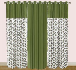 Floral Printed Cotton Green Eyelet Curtain Set (Pack of 3) By Dekor World