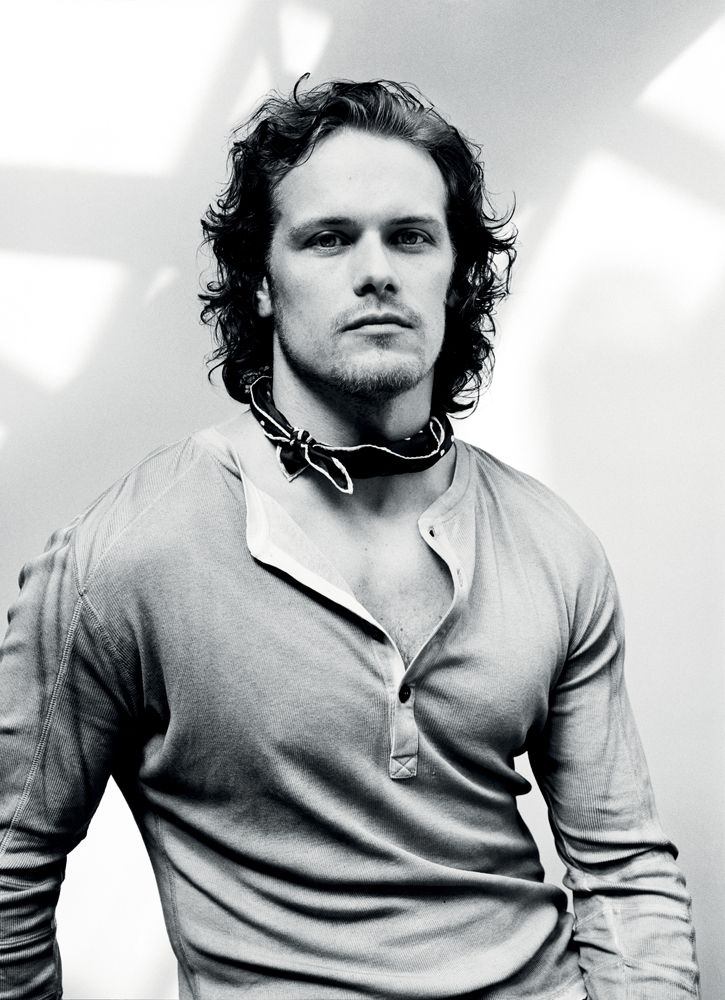 Styled by Phoebe Arnold, Sam Heughan dons a henley from Belstaff with a Drake's neckerchief.
