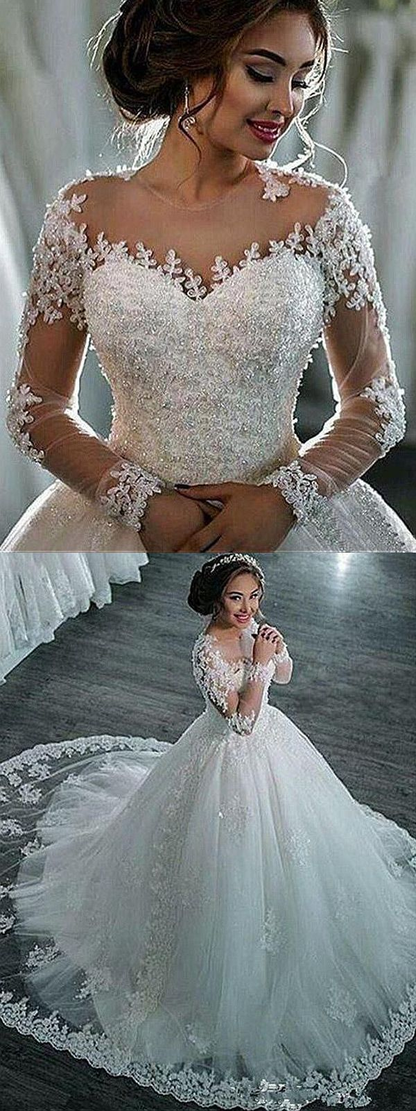 Amazing Tulle Sheer Jewel Neckline Ball Gown Wedding Dresses With Beaded Lace Appliques