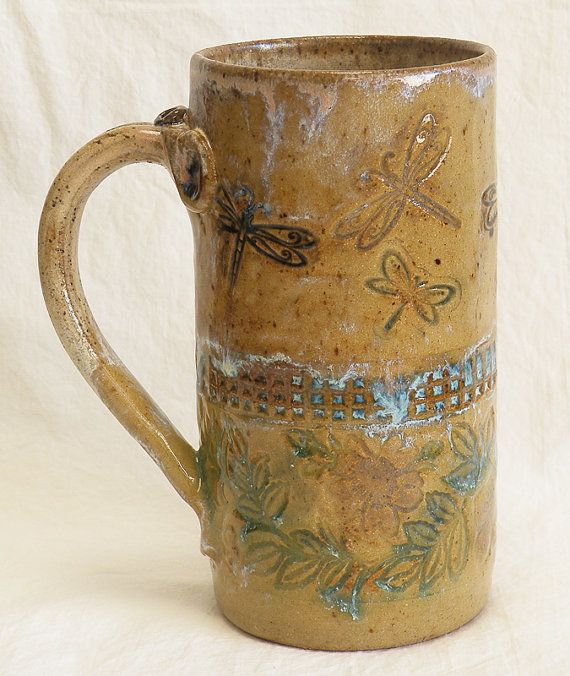 Stoneware 20oz Dragonfly Coffee Mug Ceramic 20C020 By DesertNOVA, $22.00