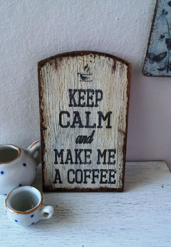 Dollhouse miniature sign Coffee sign  12th by DewdropMinis on Etsy