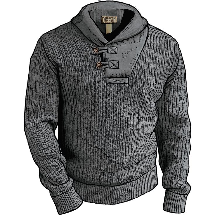 Men's High-Neck Infantry Cotton and Wool Sweater - Duluth Trading
