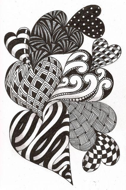 hearts a'plentyZentangle Hearts, Heart Zentangle Patterns, White Zentagle, Heart Doodles, Zentangle Art, Heart Drawings Doodles, Doodles Hearts, Heart A Plenty, Heart Aplenti