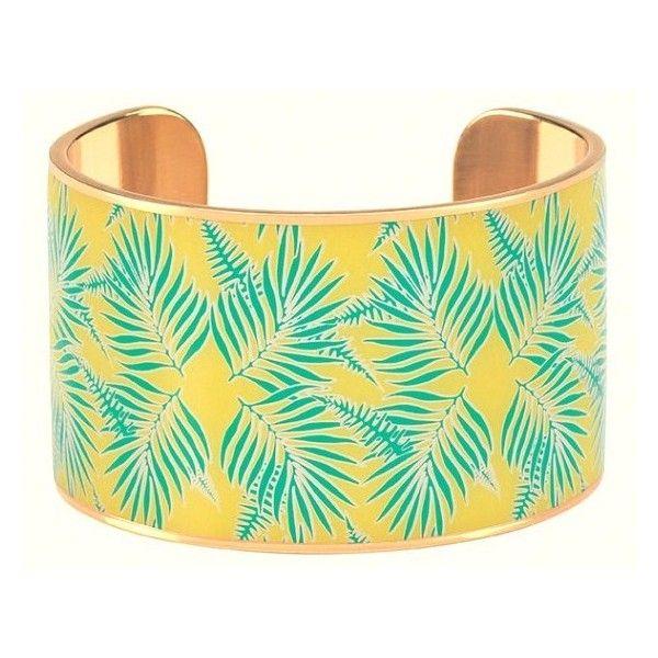 Manchette imprimé palmier jaune et vert en laiton doré à l'or fin émaillé de bangle up