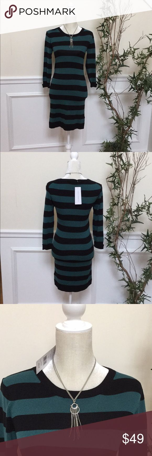 FRENCH CONNECTION BLACK/TEAL KNITES STRIPE DRESS 6 BEAUTIFUL FRENCH CONNECTION BLACK/TEAL KNITES STRIPE DRESS 6  ✨Buy before it sells out✨ NO TRADES! NO HOLDS!  ALL OF MY ITEMS COME FROM SMOKE FREE, AND PET FREE HOME. French Connection Dresses Long Sleeve #fitnessconnection,