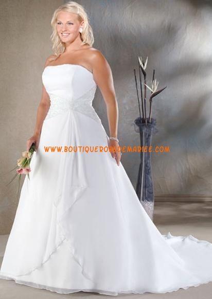 Robe de mariée grande taille à bustier avec traîne