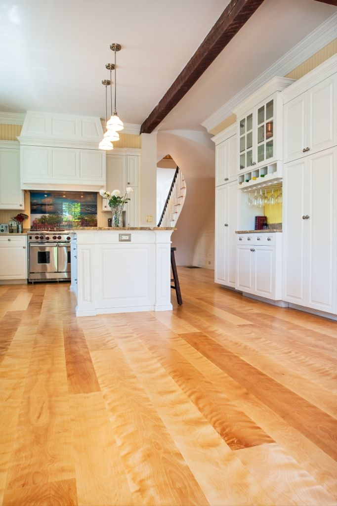 Kitchen Wood Floors Wide Plank Curly Birch Made By Hull Forest Products