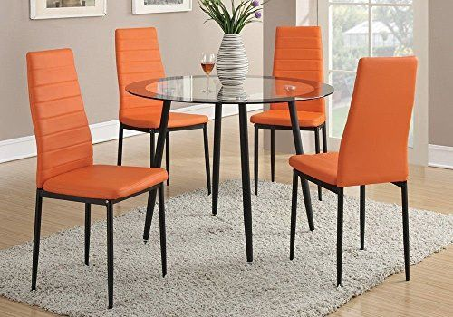 Poundex Retro Style Orange Faux Leather Dining Chairs Set Of 4 My