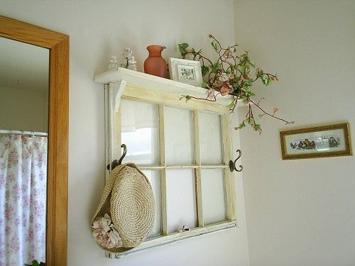 I <3 this.... repurpose old window into shelf with hooks... I think that I might do this with the old window that I have had for the last 6 months that has just been sitting there screaming for attention!