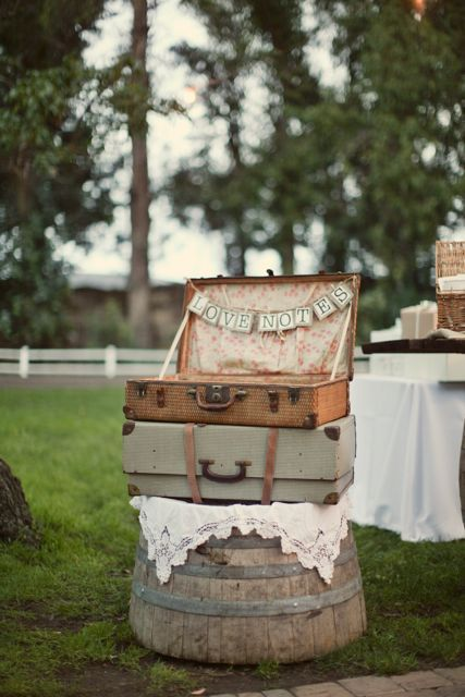 Vintage suitcases - love.    //i have to admit I like the idea, simple, find a beautiful suitcase on the small side, and afterwards just pack it up, maybe bring on the vacation after the wedding, and for years to come it can be a wedding album of sorts (along with registry book)