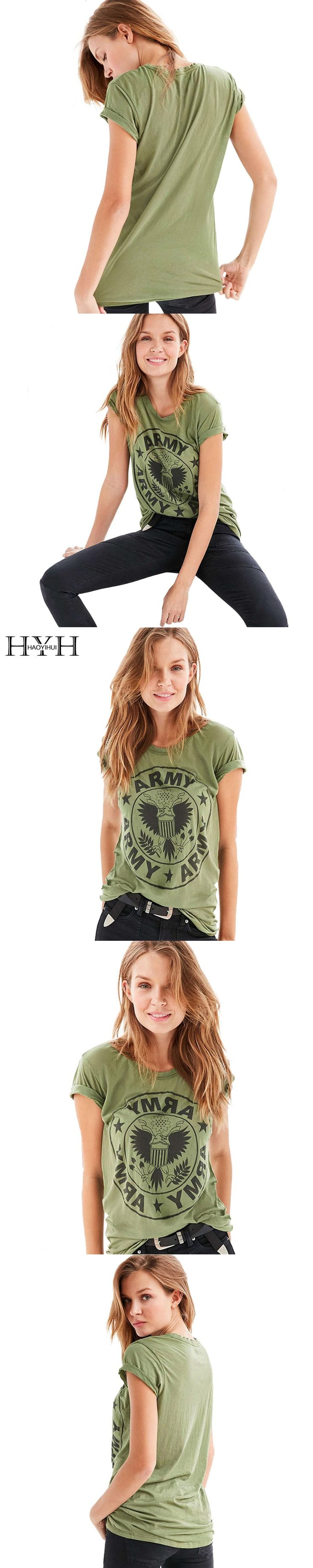 HYH HAOYIHUI Army Green Women T-Shirt O-Neck Loose Letter Print Tees Casual Streetwear Brief Short Sleeves T-Shirt