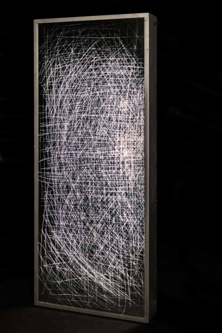 Jagged Reflection # Lines nr. 02 - Scratched illuminated mirror object designed by LUCAS & LUCAS