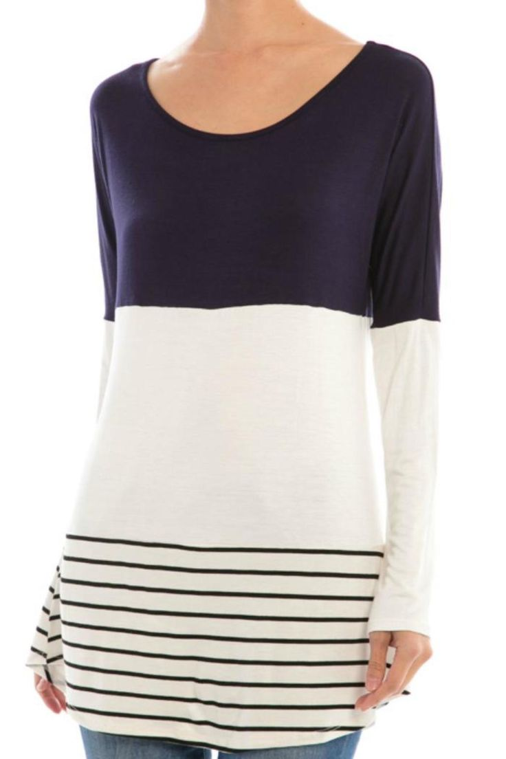 Charcoal and white color block tunic top with contrasting striped hem and crochet lace back detail.   Color Block Top by My Beloved. Clothing - Tops - Long Sleeve New Jersey