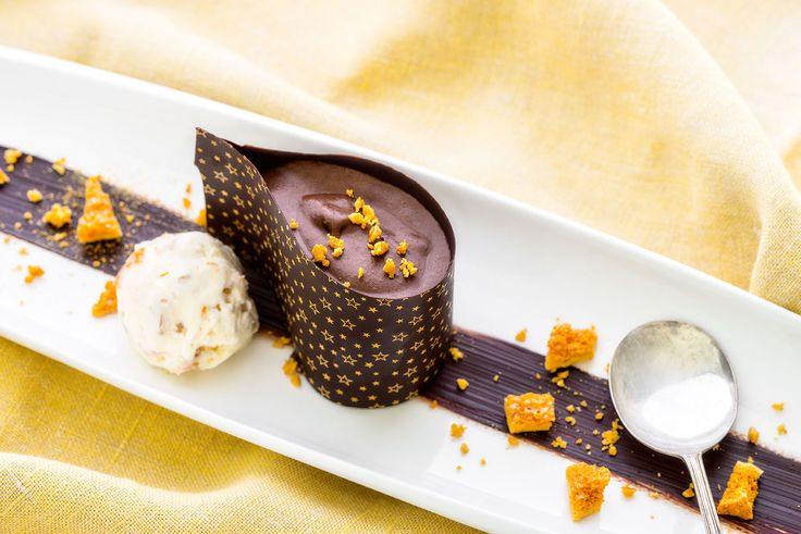 Tear drop chocolate mousse with orange peel ice cream by Clare Fenwick Hyde of the Malvern Supper Club