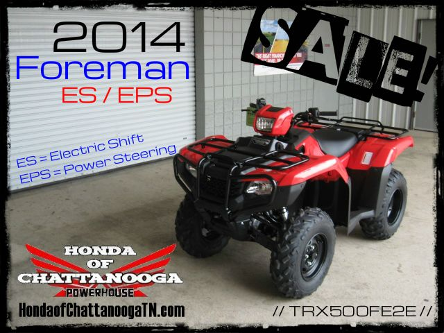2014 Foreman 500 TRX500FE2E SALE Price at Honda of Chattanooga is too Low to advertise. Visit www.HondaofChattanoogaTN.com or Call / Email Kevin for the lowest & best 2014 Foreman 500 4x4 ATV Sale Price. Our 2014 Foreman ES 500 ATVs are in stock and we have special financing promotions with $0 DOWN and 90 Days NO Payment on our 2014 Honda ATVs.TRX500FM1E / TRX500FM2E / TRX500FE1E / TRX500FE2E. Wholesale Honda ATV Prices at Honda of Chattanooga TN GA AL ATV Dealer