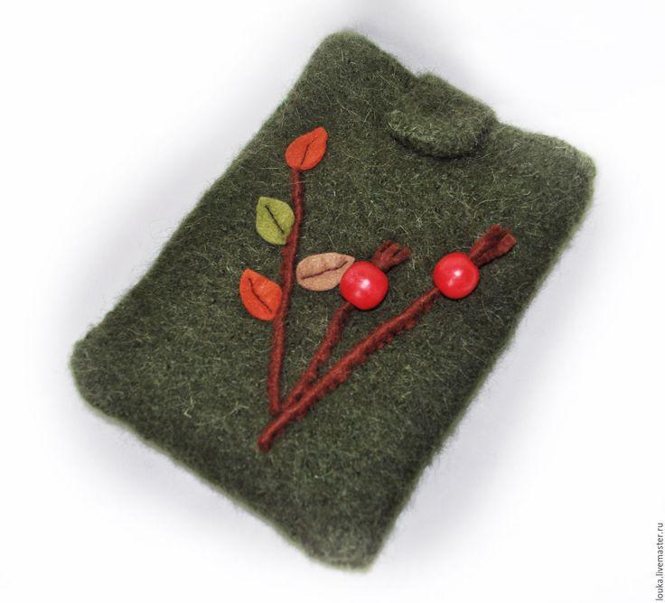 """Купить Чехол для iPad mini """"Шиповник"""" - зеленый, чехол для планшета, чехол для ipad, валяние из шерсти"""