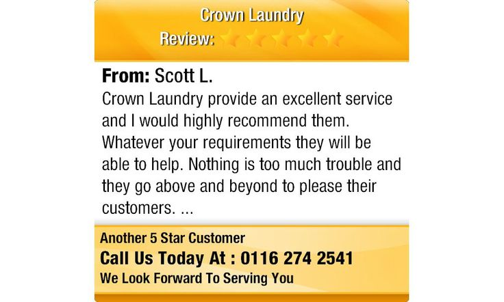 Crown Laundry provide an excellent service and I would highly recommend them. Whatever...