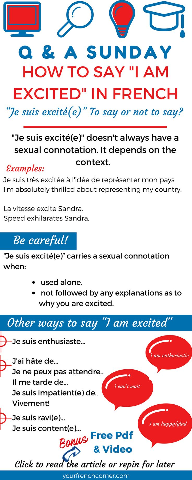 """How to say """" I am excited"""" in French #learnfrench #fle #frenchimmersion"""