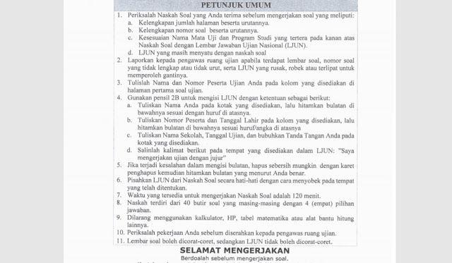 Download Soal Matematika Latihan UNBK SMP 2018