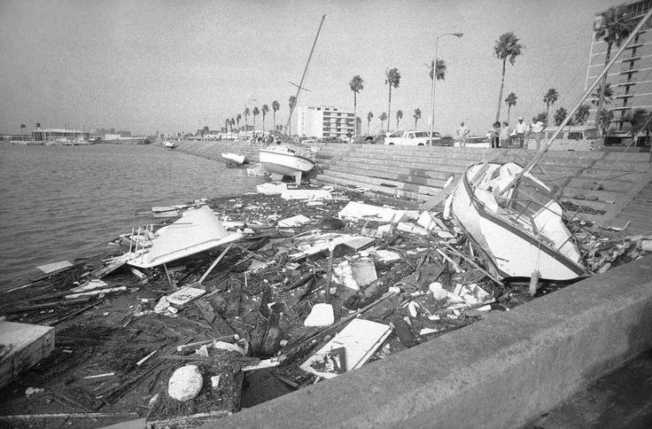 1980 - Hurricane Allen Dates active: July 31 - August 11 Peak classification: Category 5 Sustained wind speed: 190 mph (305 km/h) Areas affected: The Caribbean, Yucatán Peninsula, Mexico, South Texas Deaths: 269 Damage: $1.24 billion (Pictured) Boats and debris litter the Texas Gulf Coast area along Shoreline Drive in downtown Corpus Christi, Texas, on Aug. 11, 1980.