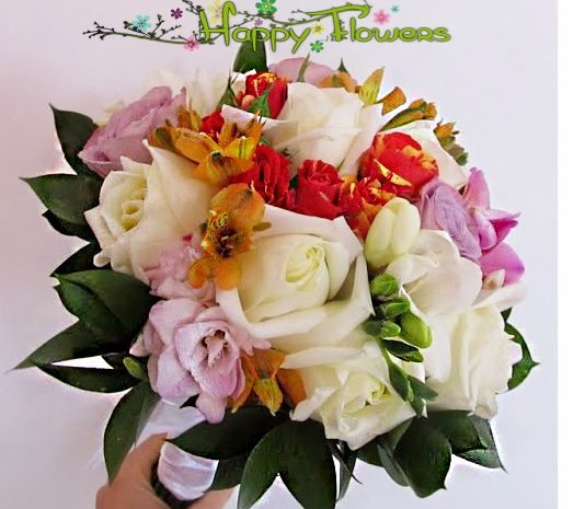 Buchet mireasa Trandafiri,eustoma,frezii,fruze decorative  Pret: 300 RON