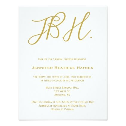Gold monogram bridal shower invitations - calligraphy gifts custom personalize diy create your own