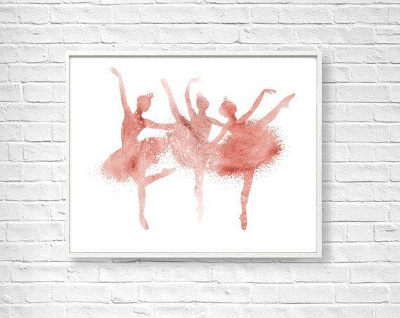 Three Ballerinas Watercolor Art Print, Home Wall Décor, Silhouette Painting, Pink Burgund Ballerina Printable, Digital Ballerina Art