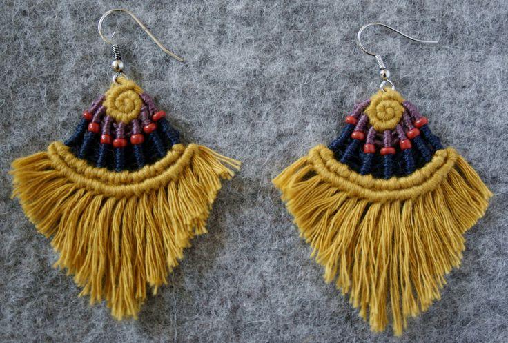 "Boucles d'oreilles en macramé ""Chaman"", ""Shaman"" macrame earrings : Boucles d'oreille par macrame-mongol"