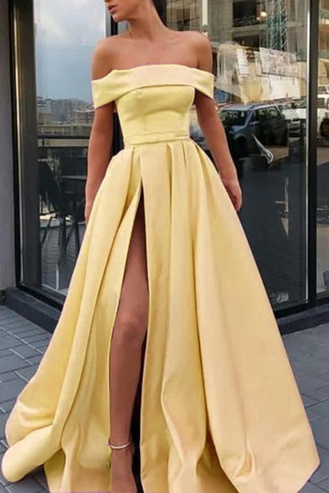 Incredibly A Line Off the Shoulder Satin High Slit Yellow Prom Dresses, Long Formal Dresses…