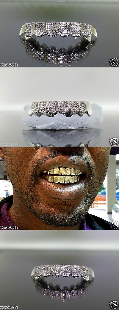 Grillz Dental Grills 152808: Sterling Silver Custom Fit 8Pc W/ 2Ct Lab Diamond Iced Out Real Grillz BUY IT NOW ONLY: $245.0