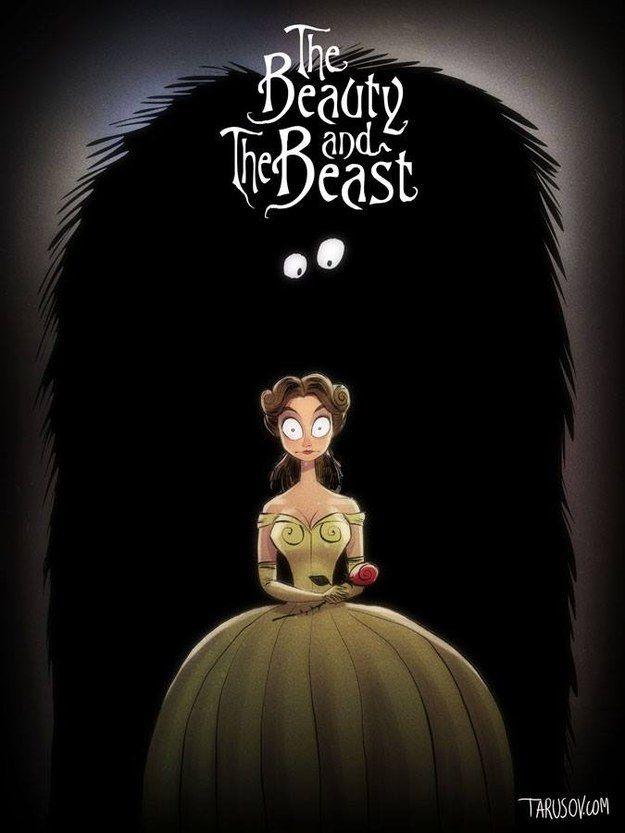 Die Schöne und das Biest: Schau mal, wie sich Belle vor Burtons Biest erschreckt. | So würden Disney-Filme aussehen, wenn Tim Burton Regie geführt hätte
