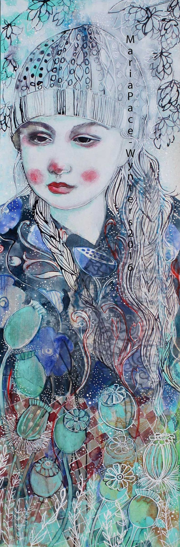 Maria Pace-Wynters - this is a 8″x24″ mixed media painting on paper covered canvas. The sides are 1.5″ deep and are painted turquoise.