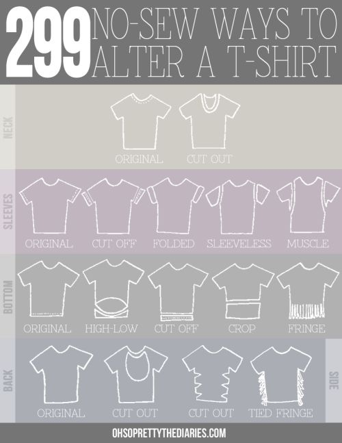 DIY 299 No Sew Tee Shirts Infographic and Tutorial from Oh So Pretty.Mix and match to get hundreds of combinations. Also check out the post at the link.For pages more of easy DIY tee shirt restyles go here:truebluemeandyou.tumblr.com/tagged/tee-shirt