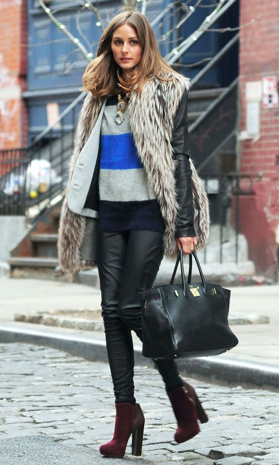 Fur vest OVER jacket?  love it!  Leather On The Streets Of New York 2012