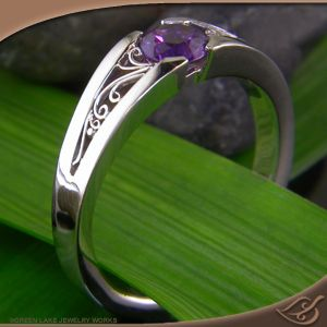 Ooo a Purple Sapphire! This Beautiful Tension Style Mounting has a nice low profile - perfect for those who want a ring that won't get in the way. #Engagement #Jewelryworks