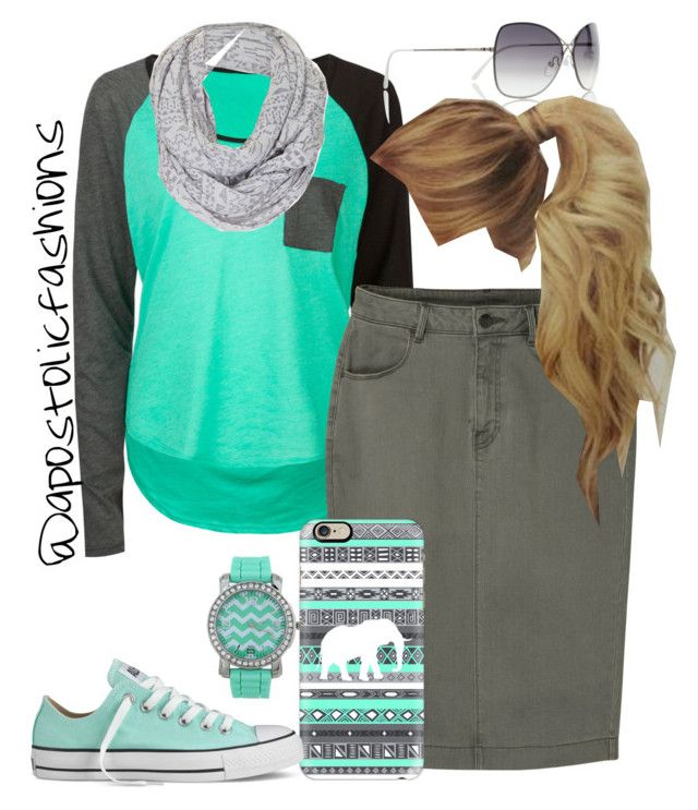 """""""Apostolic Fashions #780"""" by apostolicfashions ❤ liked on Polyvore featuring Volcom, Tom Ford, Topshop, Uniqlo, Casetify and Converse"""