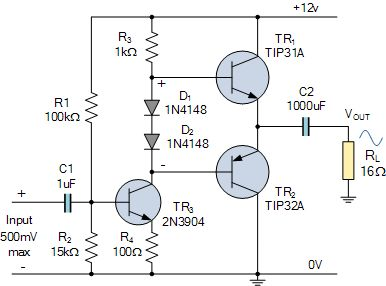 Class AB Amplifier   Esquemas eletrônicos, Circuito ...