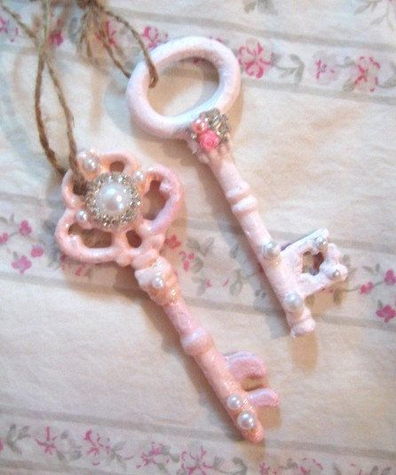 Set 2 Shabby Chic Keys 1 Pink 1 Pale Pink Vintage 4 1/2 Ornate Pearls Roses…