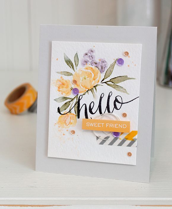 Floral Hello card by Dawn Woleslagle for Wplus9 featuring Pretty Peonies and Hand Lettered Hello stamps.