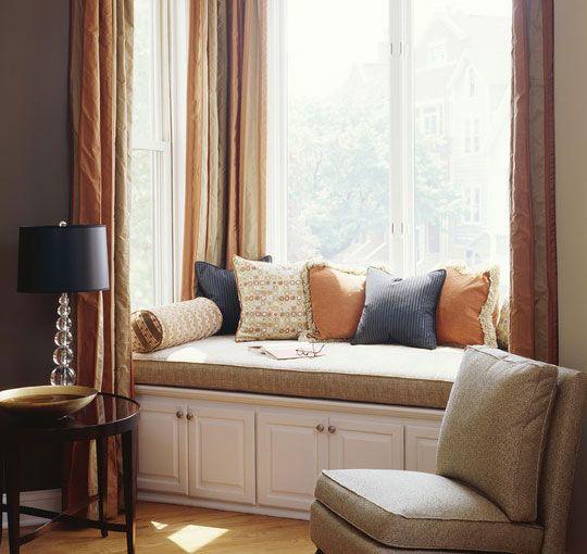 Window Seat Ideas - Hang Long Drapes - Decor Ideas for Living Room