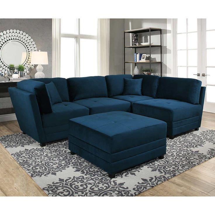 Leyla 5 Piece Fabric Modular Sectional Living Room Set Blue