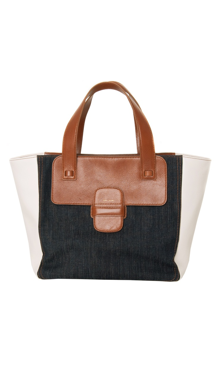 """Marc Jacobs """"Small Khaki"""" #tote - leather and denim #bag"""
