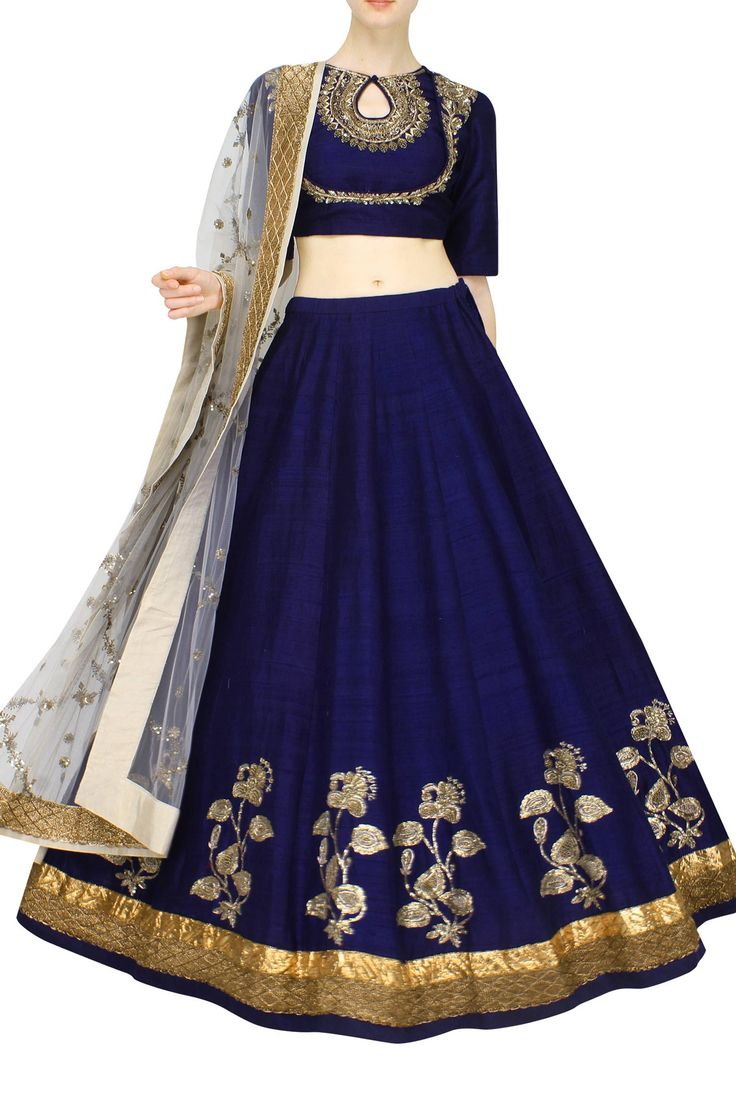 Navy blue raw silk lehenga|Lehenga|Jayanti Reddy|Aashniandco.com